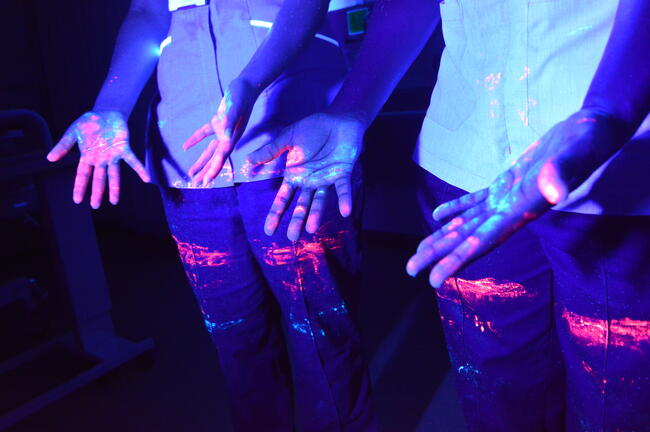 Hands glowing with different coloured mock-pathogens , lit under ultra-violet light.