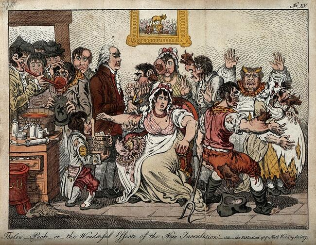 Credit: Edward Jenner among patients in the Smallpox and InoculationColoured etching after J. Gillray, 1802. Credit: Wellcome Collection. Attribution 4.0 International (CC BY 4.0)