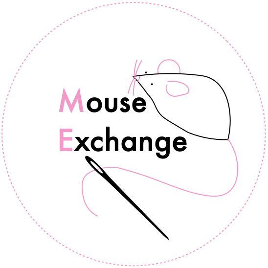 Logo for the mouse exchange, featuring a crafted felt mouse